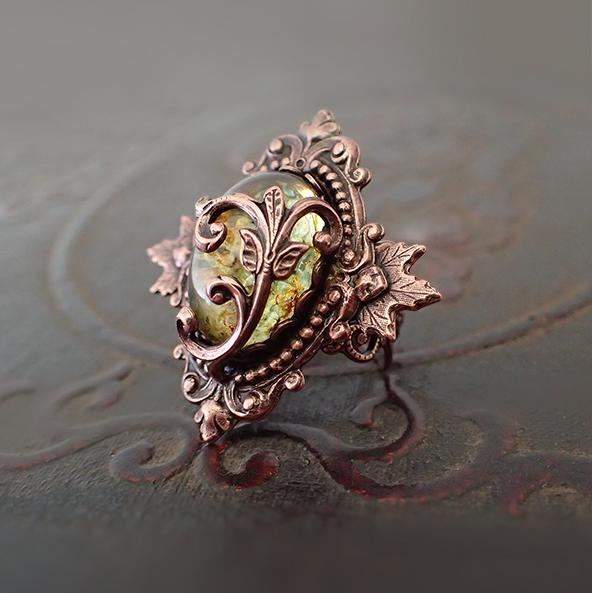 Nature Themed Copper Cocktail Ring