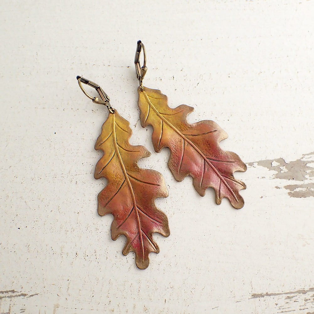 Large Oak Leaf Earrings with Autumn Patina