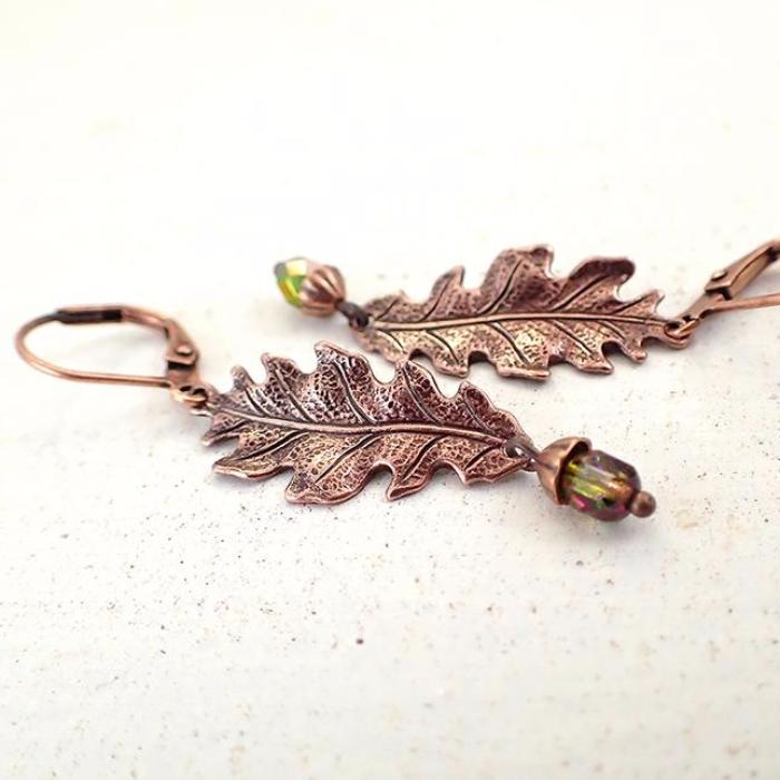 Copper Oak Leaf and Acorn Dangle Earrings
