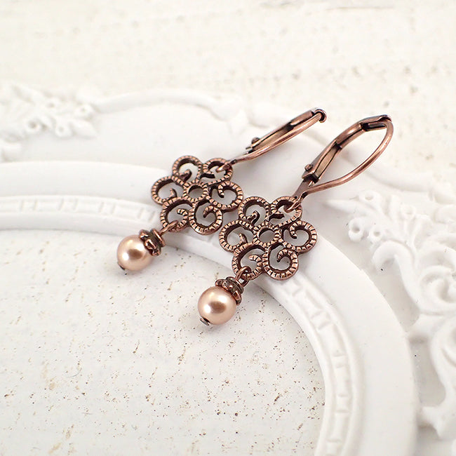 Dainty Copper Filigree Earrings with Rose Gold Pearls