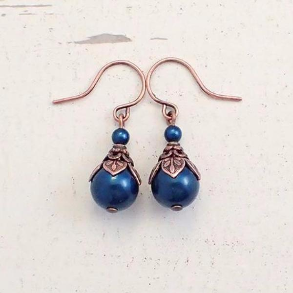 Copper and Bluish Teal Swarovski Pearl Earrings