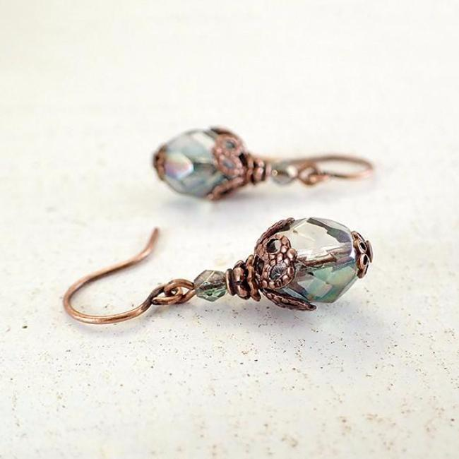Dusty Seafoam and Copper Beaded Earrings