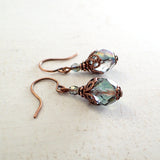 Dusty Seafoam and Copper Beaded Earrings view 2