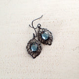 Gunmetal Dusky Blue Stone Earrings view 2