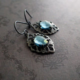 Gunmetal Dusky Blue Stone Earrings