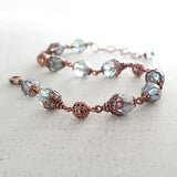 Dusty Seafoam and Copper Beaded Bracelet view 2