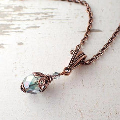Dusty Seafoam and Copper Pendant Necklace
