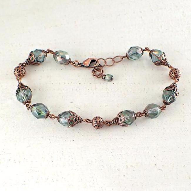 Dusty Seafoam and Copper Beaded Bracelet