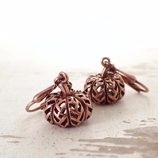 Antiqued Copper Carved Pumpkin Earrings