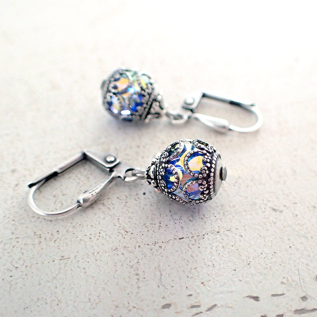 Aqua AB Filigree Caged Swarovski Crystal Earrings