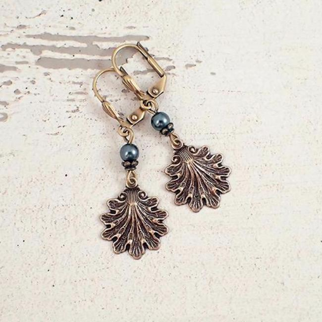 Bronze Seashell Earrings with Dark Teal Swarovski Pearls