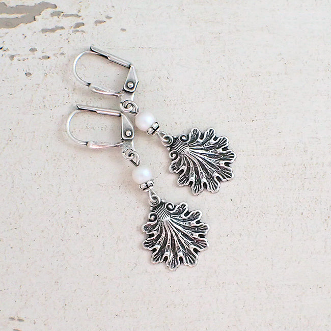 Silver Sea Shell Earrings with Swarovski Pearls