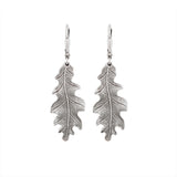 Antiqued Silver Oak Leaf Earrings