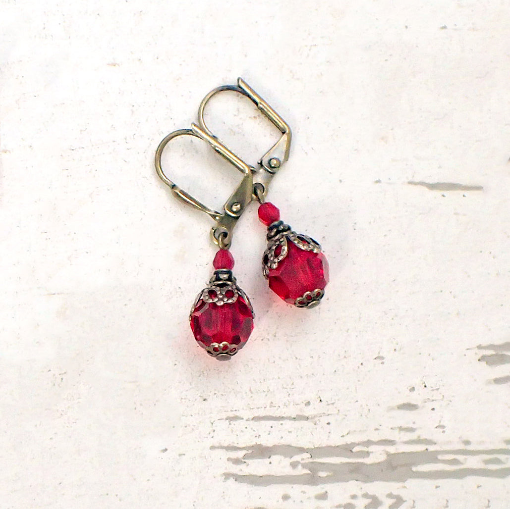 Romantic Red Victorian Swarovski Crystal Earrings