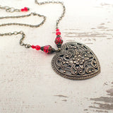 Romantic Victorian Filigree Heart Pendant Necklace
