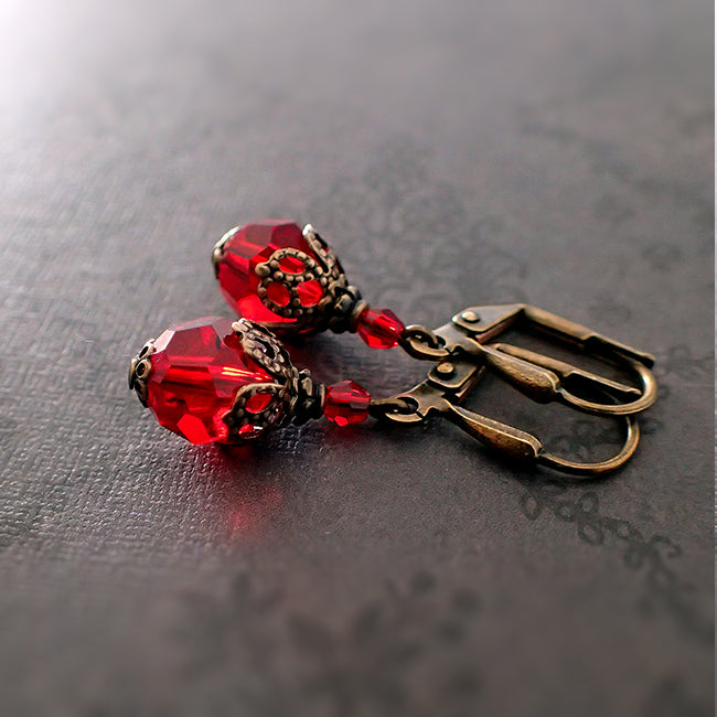 0a8bb97a0 Romantic Red Victorian Swarovski Crystal Earrings - Ardent Hearts ...