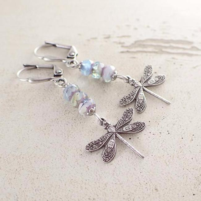 Pastel Colored Dragonfly Earrings