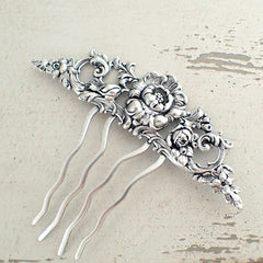 Floral Victorian Hair Comb in Antiqued Silver