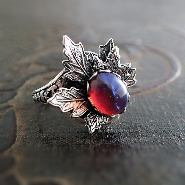 Dragon's Breath Glass Opal Cabochon Ring