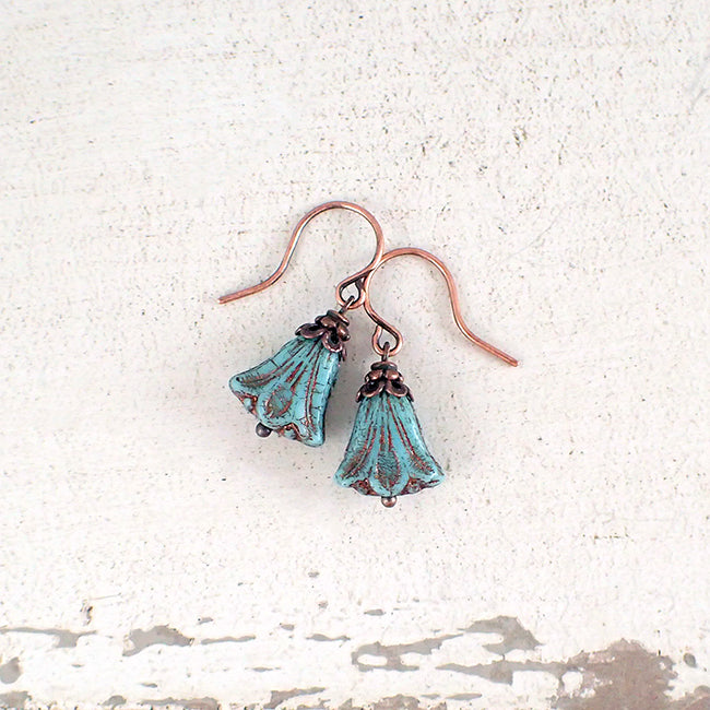 Turquoise and Copper Lily Flower Earrings