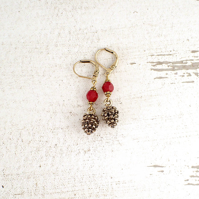 Red and Gold Pine Cone Earrings