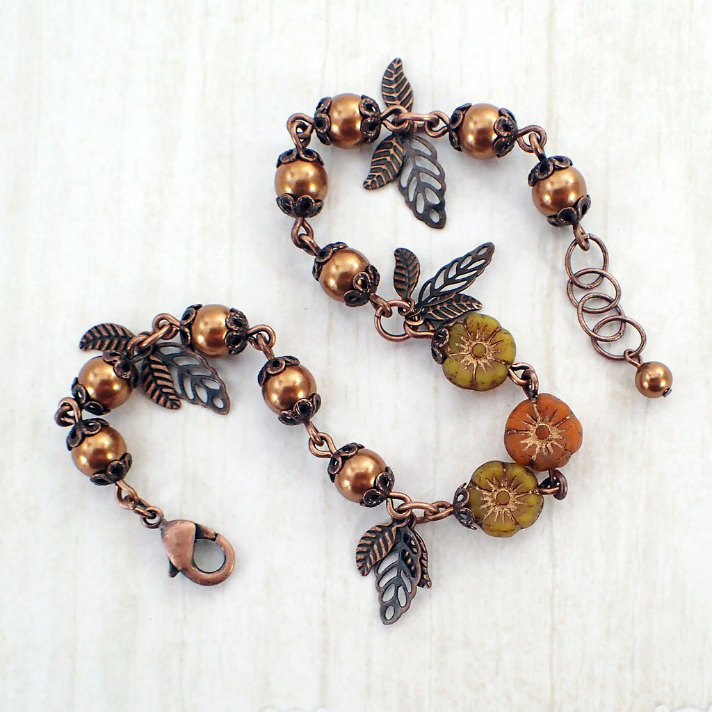 Copper Flower and Leaf Charm Bracelet
