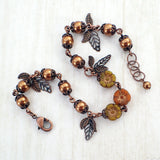 Copper Flower and Leaf Charm Bracelet main view