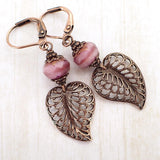 Dusty Rose Filigree Leaf Earrings main photo
