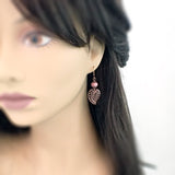 Dusty Rose Filigree Leaf Earrings mannequin view