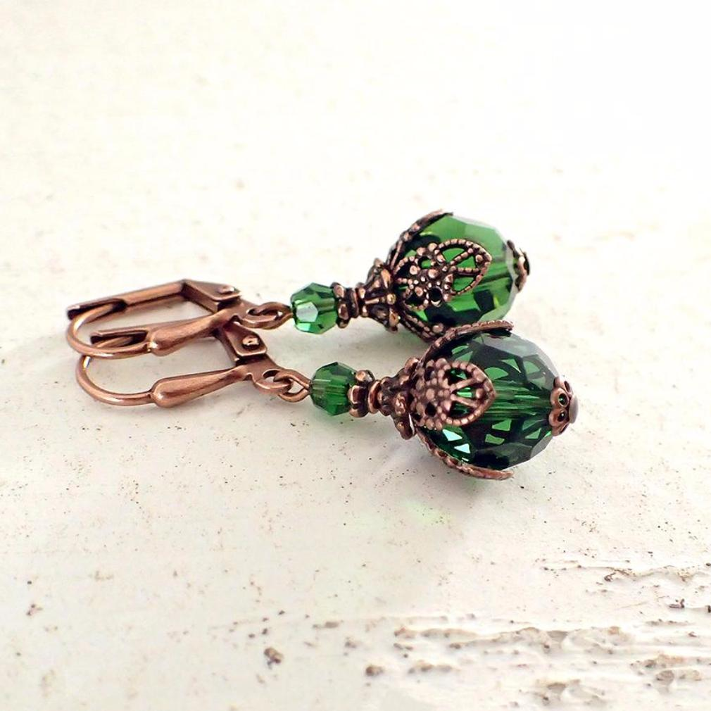 Bright Green Filigree Wrapped Crystal Earrings