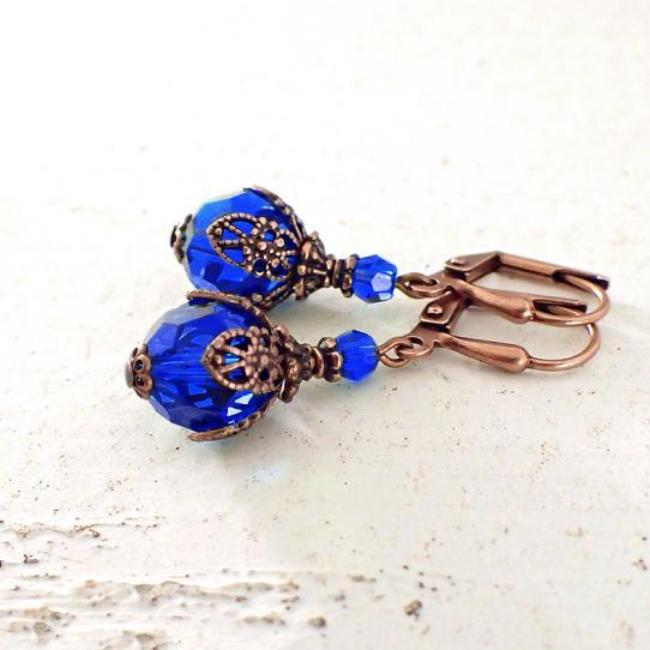 Majestic Blue Filigree Wrapped Swarovski Crystal Earrings