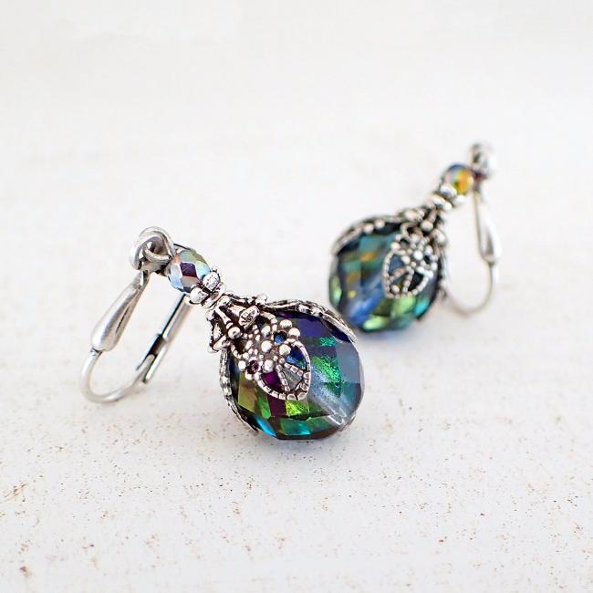 Iridescent Victorian Style Filigree Wrapped Earrings