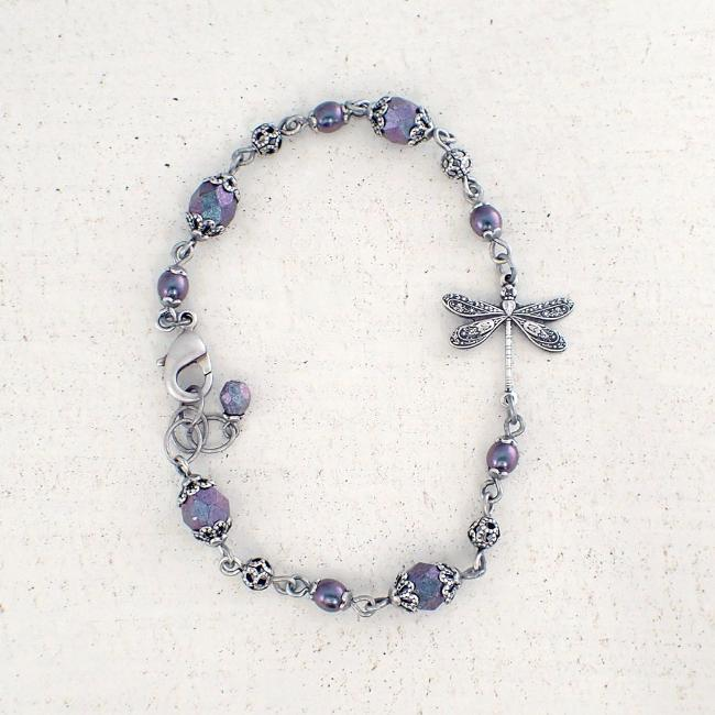 Colorful Beaded Dragonfly Bracelet
