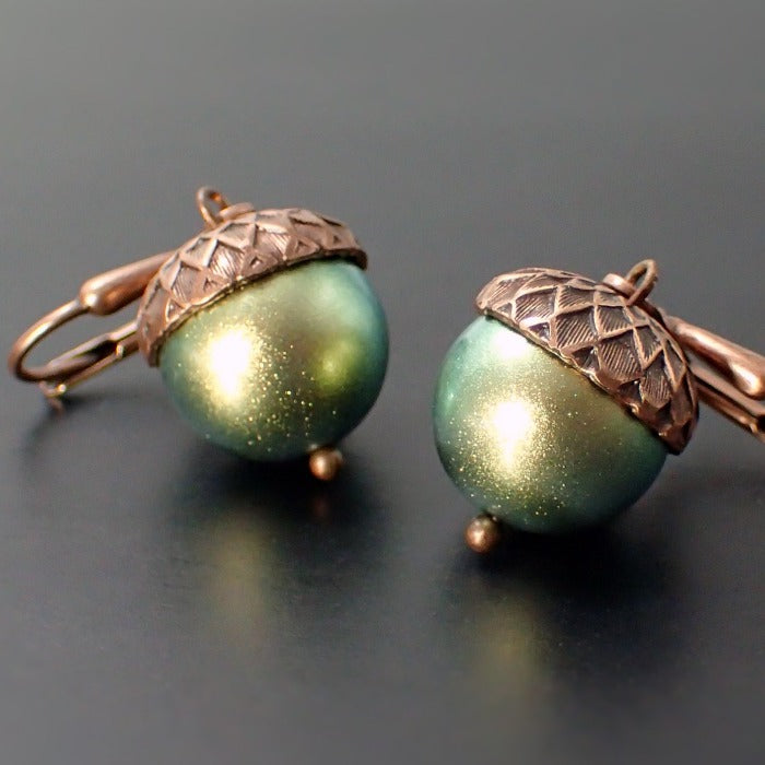 Acorn Earrings with Iridescent Light Green Crystal Simulated Pearls and Antiqued Copper