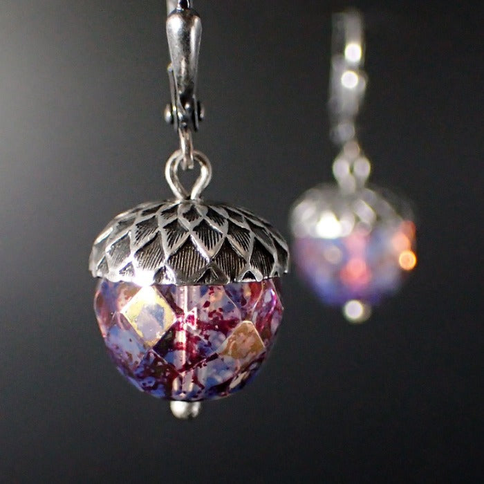 Translucent Lavender Czech Glass Acorn Earrings with Antiqued Silver