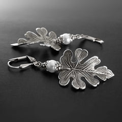 Antiqued Silver Oak Leaf Earrings with White Swarovski Pearls