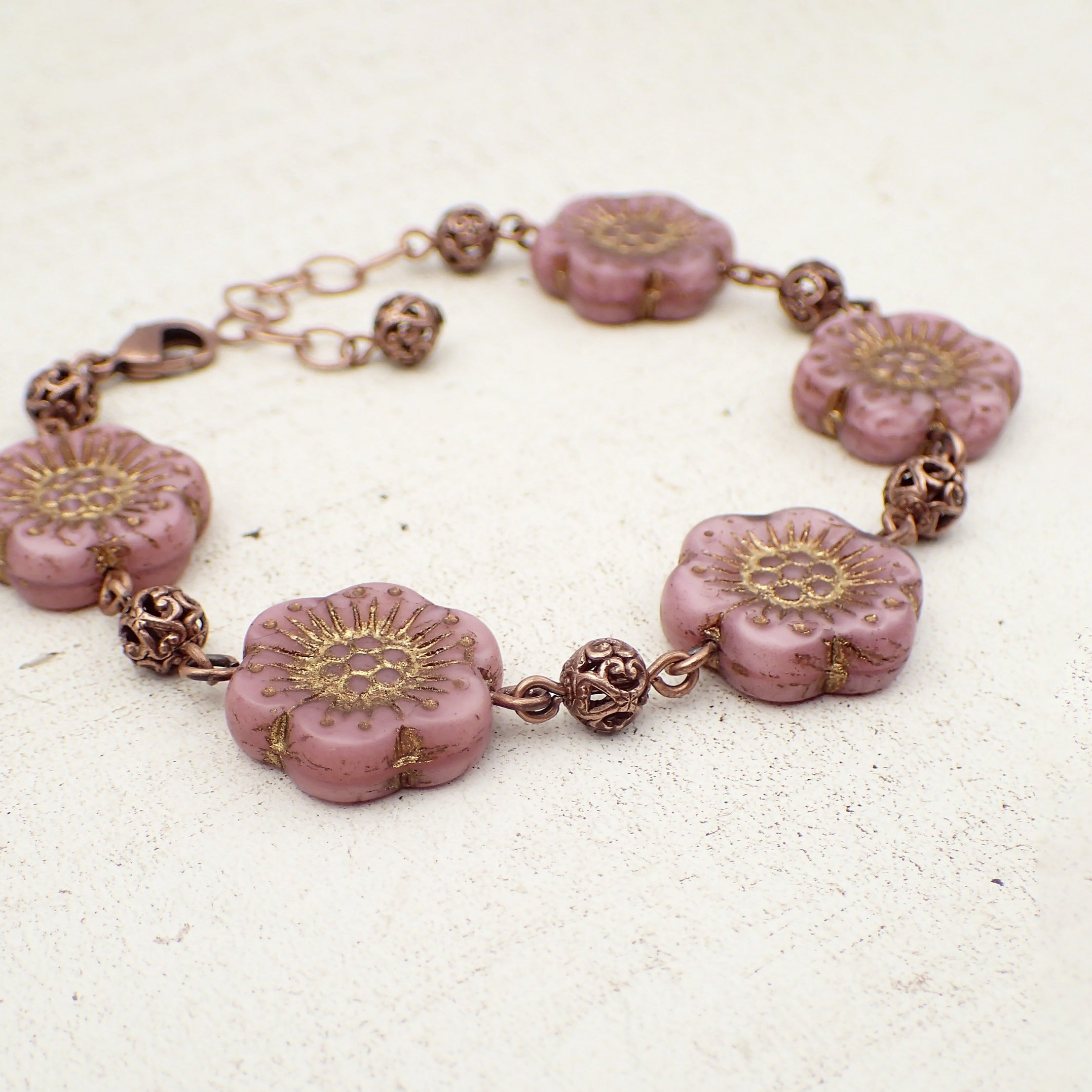 Dusty Pink Flower Bracelet with Copper Filigree Beads