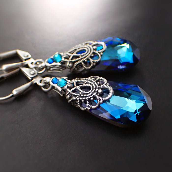 Blue Antique Style Earrings with Swarovski Crystal and Antique Silver Filigree