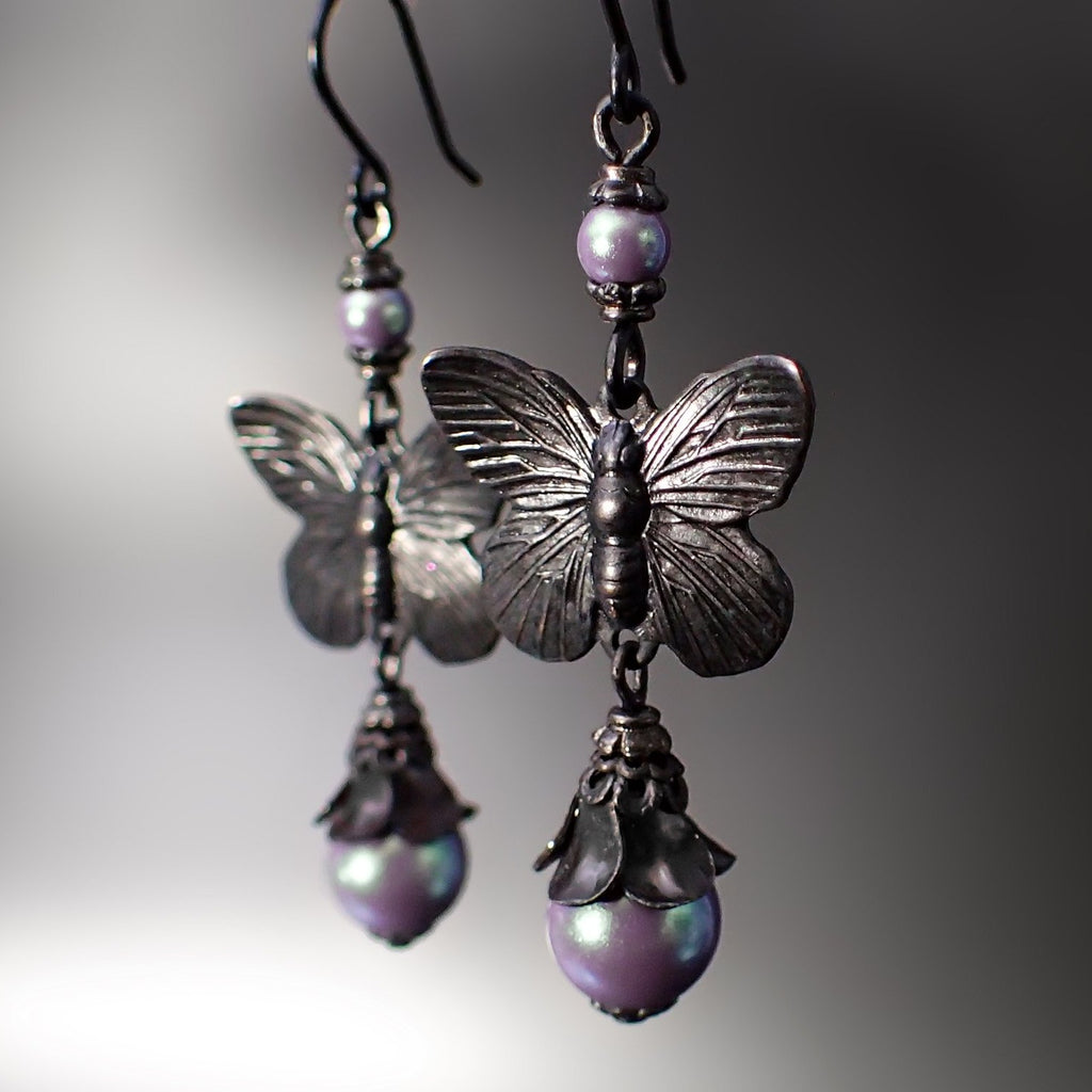 Black Metal Butterfly Floral Earrings with Iridescent Purple Crystal Pearls