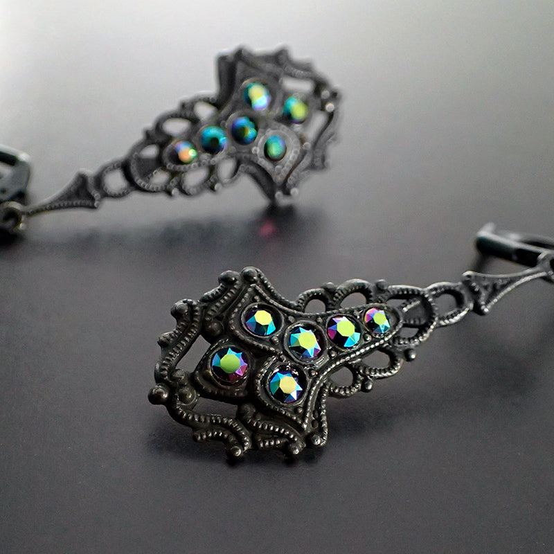 Victorian Gothic Earrings with Peacock Multi-Colored Swarovski Crystals