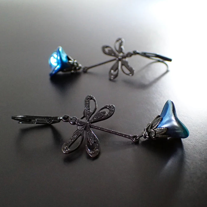 Black Dragonfly Earrings with Filigree Cut Outs and Metallic Blue Flowers