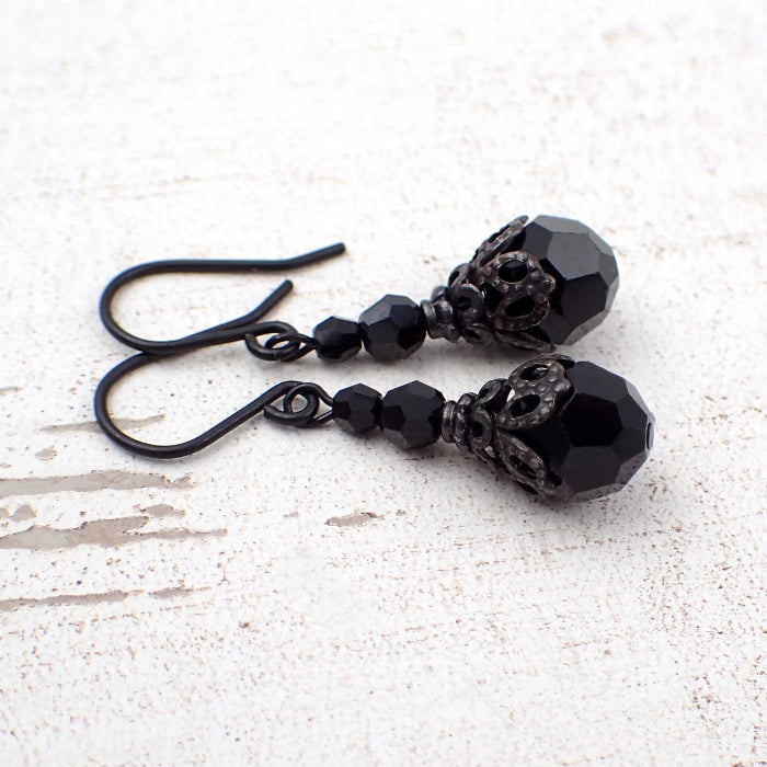 Victorian Gothic Earrings with Jet Black Swarovski Crystals