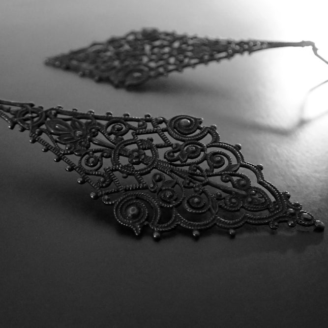 Extra Large Victorian Gothic Style Statement Filigree Earrings