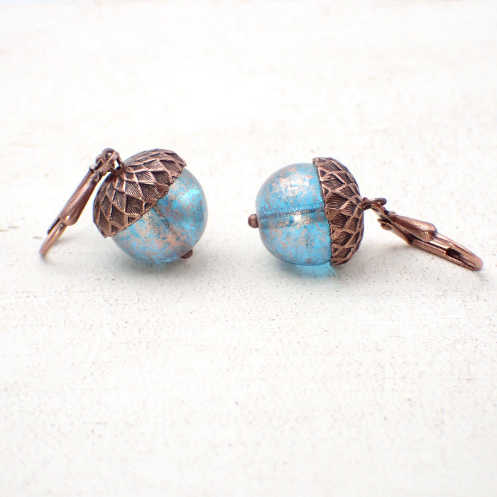 Acorn Lever Back Earrings with Blue Czech Glass Beads