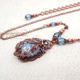 Victorian Cabochon Necklace with Aqua Blue Faux Opal Stone