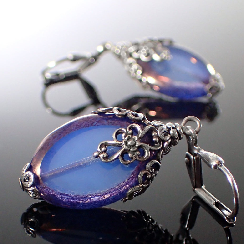 Czech Glass Beaded Earrings in Translucent Blue and Purple with Floral Filigree