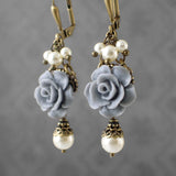 Dusty Blue and Ivory Shabby Rose Earrings view 2
