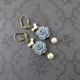 Dusty Blue and Ivory Shabby Rose Earrings - view 3