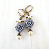 Dusty Blue and Ivory Shabby Rose Earrings - view 4