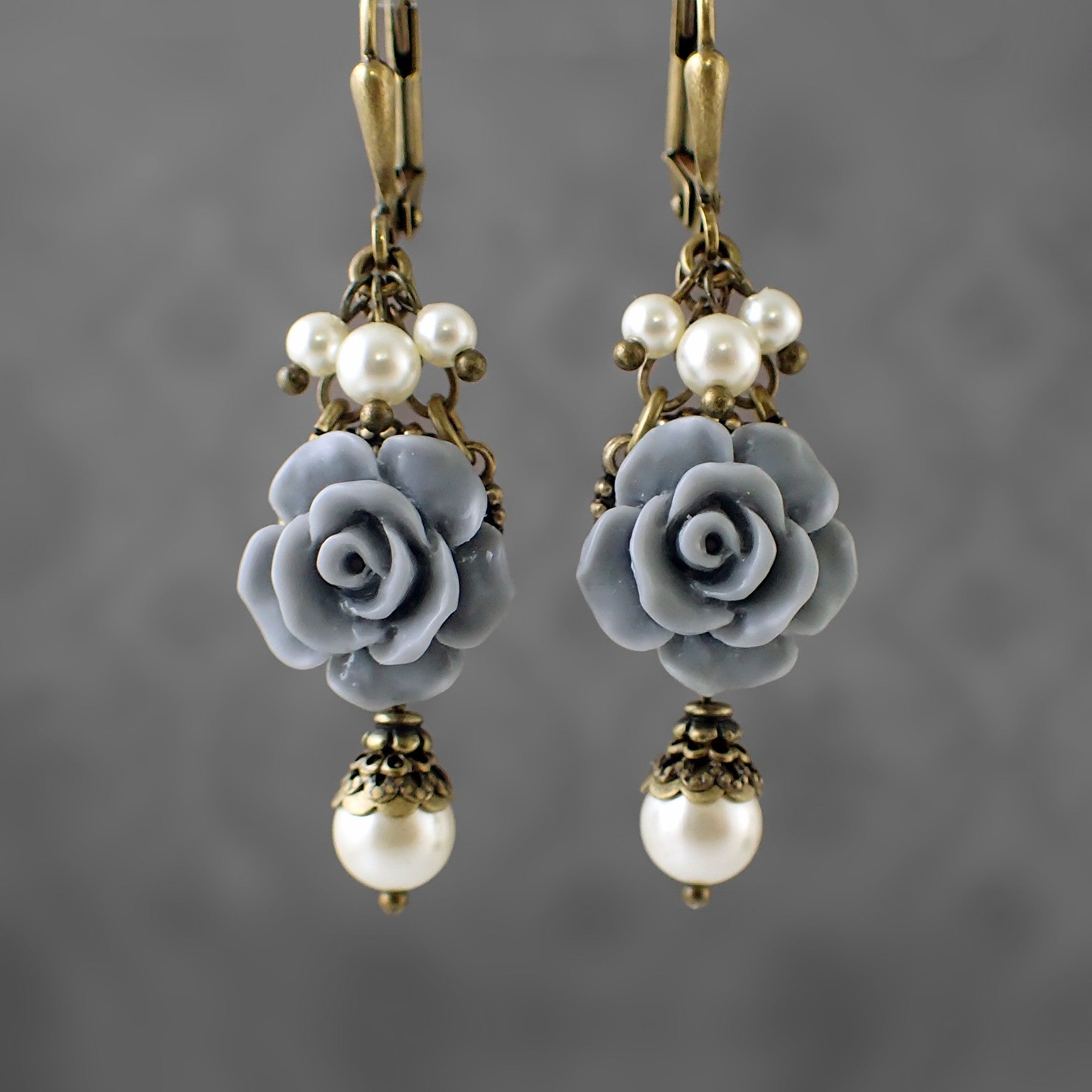 Dusty Blue and Ivory Shabby Rose Earrings